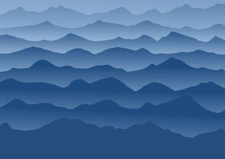 smoky mountains: Blue mountains running in the fog. Vector illustration.