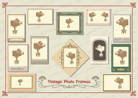 Set of vintage old-fashioned decorative photo frames Illustration