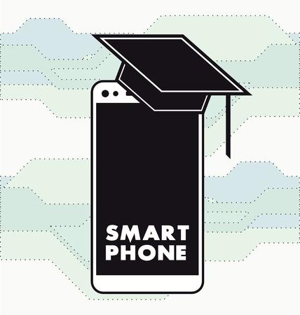 scholarly: Flat academic scholarly smartphone Icon  illustration