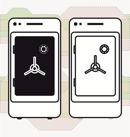 strongbox: Smartphone mobile banking safe deposit strongbox Black and white Illustration