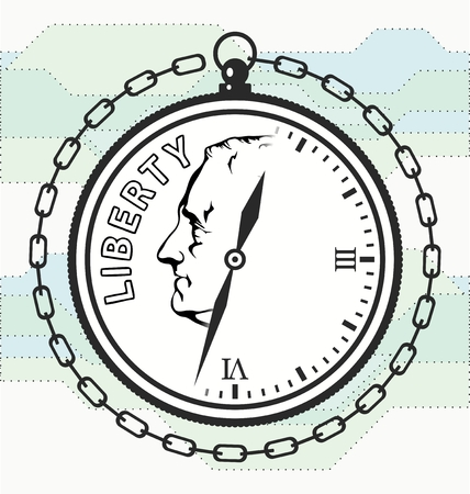 pensions: Time is money. Logo reflecting the relationship between money and time Illustration