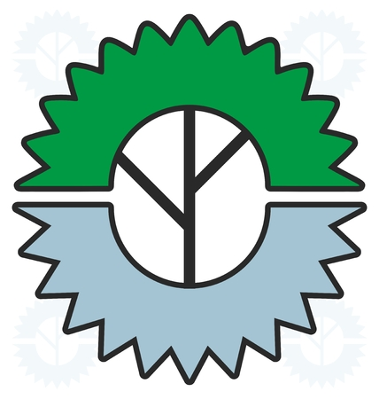 woodworking industry logo design with circular saw and tree