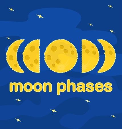 moon phases: Moon phases, Flat design, vector illustration Illustration