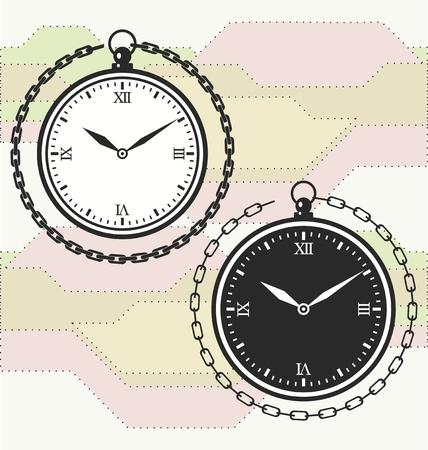 numeros romanos: reloj de bolsillo de la vendimia con los números romanos y cadenas.
