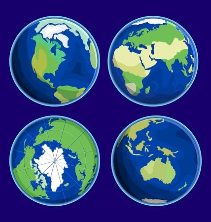 flat earth: 4 globes Earth Flat Icon Illustration