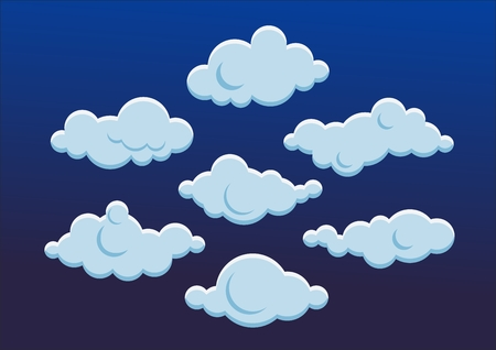 Set of cute blue clouds illustration