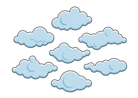 Set of cute clouds illustration, isolated on white Illustration