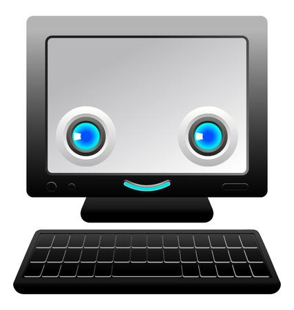 genial: Monitor screen and a keyboard template Comic character