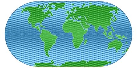 World map scan stylized vector image. Flat Globe.