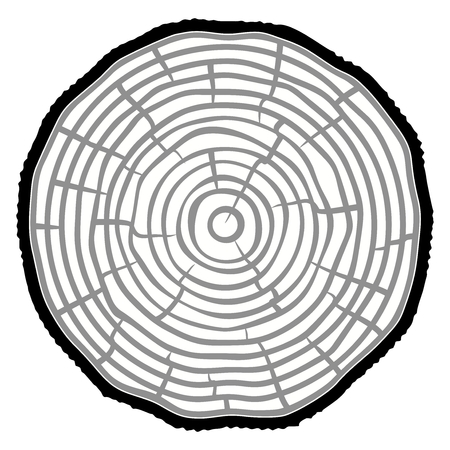 Tree rings icon with splits and cracks