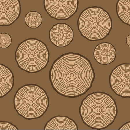 logging: Tree Rings Seamless Vector Pattern. Saw cut tree trunk background.