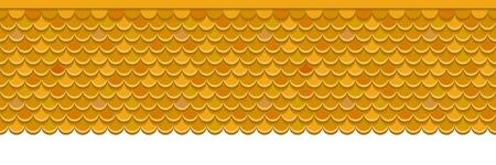 Dach mit Orangen-Tonziegeln bedeckt. Vektor Hintergrund