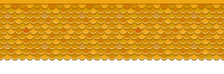 Roof covered with orange clay tiles. Vector background