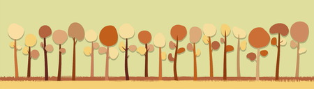 Grove of lovely simple trees Vector illustration Illustration