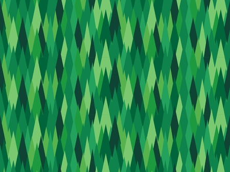 Abstract green rhombic seamless pattern. Earth covered with pines