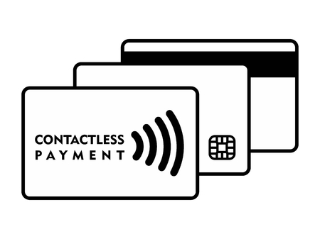 smart: 3 generations of credit card on white background. Magnetic stripe Smart Chip and Contactless cards Black and white