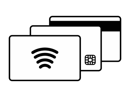 smart card: Three kinds of credit card on white background. Magnetic stripe Smart Chip and Contactless cards Black and white
