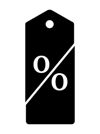 Black price tag dissected in twain forming percent sign Sale and Discounts Concept. Vector illustration. 向量圖像