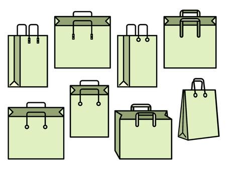 sac: Set of green shopping bag vector icons Illustration