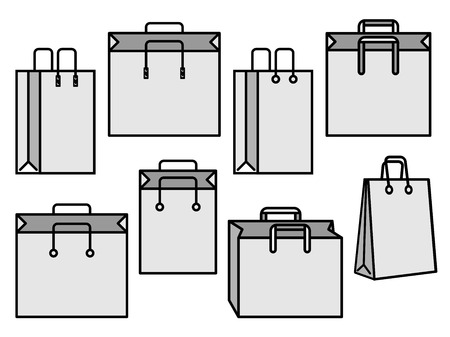 Set of gray shopping bag vector icons Illustration