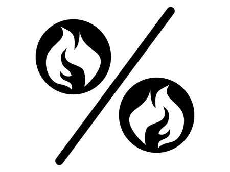 Hot sale sign represented a percent Icon with a flames Vector flat design Illustration