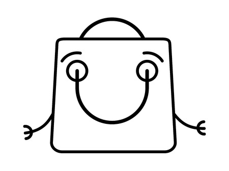 Amiable shopping bag Black and white vector icon Illustration