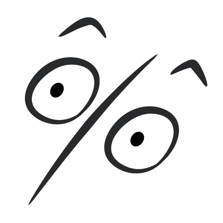 Percent sign in the form of open-eyed surpised face and raised eyebrows Illustration