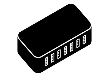 7 ports black USB Hub Isometric projection.