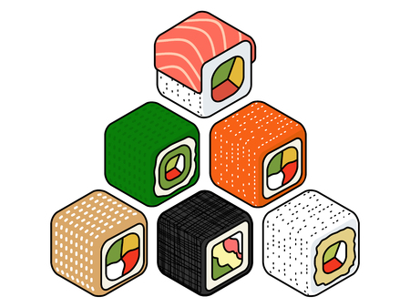 nori: Colorful Isometric set of a few kinds of sushi rolls Vector flat style design isolated Illustration