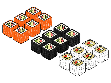 Mouth-watering Isometric set of a few kinds of sushi rolls Vector flat style design isolated on white background Illustration