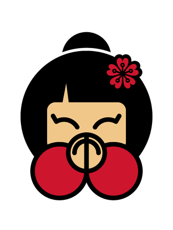Arigato Cute japanese girl with palms folded before the face. Thank you sign. Vector illustration on white background. Japan emoji design. Gratitude icon