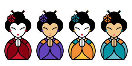 Arigato Set of cute appreciative japanese geisha with palms folded before the face. Thank you sign. Vector flat illustration on white background. Japan emoji design. Gratitude icon Illustration