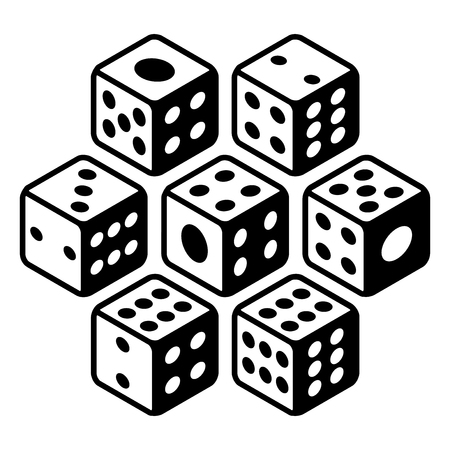 ardour: Set of dices Black and white All numbers ranging from one to six and a bonus cheat lucky dice Flat icons. Vector Illustration isolated on white background