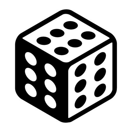 Cheat Glückswürfel mit sechs Stellen auf jeder Seite. Großes Glücksymbol flache Symbol. Schwarzweiss-Vektor Illustration lokalisiert auf weißem Hintergrund Vektorgrafik