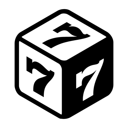 ardour: Good fortune dice with lucky sevens on every side. Great luck symbol Flat icon. Black and white vector Illustration isolated on white background