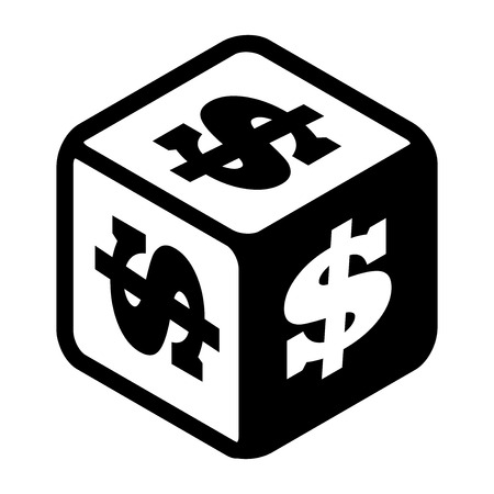 bonanza: Lucky dice with dollar signs on every side. Big money symbol Flat icon. Black and white vector Illustration isolated on white background
