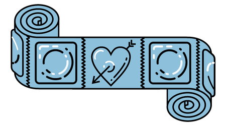 condoms: Scroll with condoms and cupid arrow love sign as symbol of active and rich sexual life and reminder of necessity condoms for safety health and freedom Always use a condom Illustration