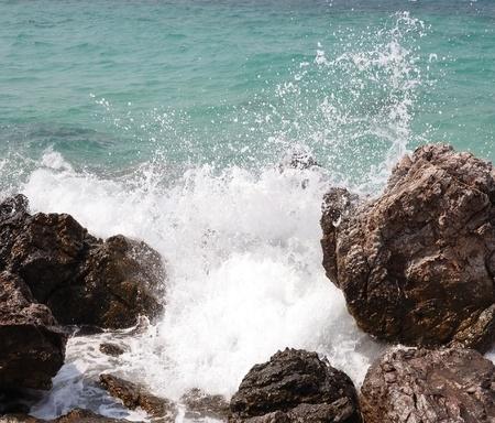 crashing: ocean waves crashing on the rocks. sinai bay.