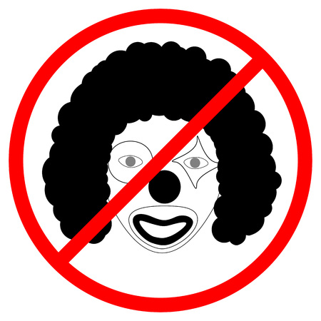 Prohibition sign for clowns - Passing only without makeup. Иллюстрация