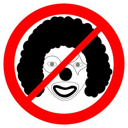 Prohibition sign for clowns. Passing only without makeup