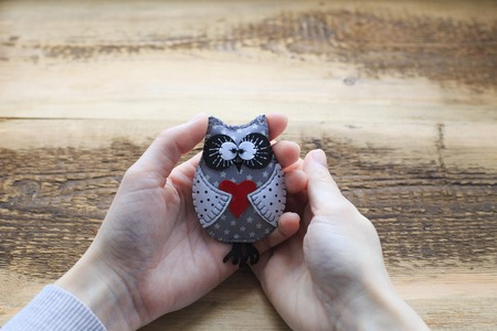 souvenir: Owl handmade toy in woman hands. Gray leather owl toy