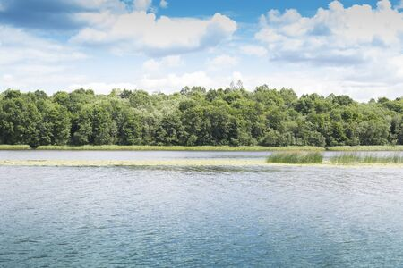 Bright summer landscape of the lake, clouds and trees Stok Fotoğraf