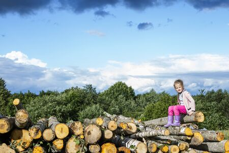 The child sits on the wood, the concept of a summer vacation Stok Fotoğraf