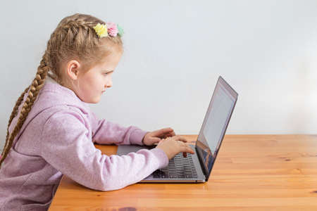 The child is engaged on a laptop. Concept of online lessons