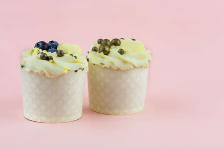 Two festive cupcakes with berries and decor on a pink background 写真素材