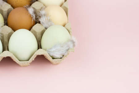Farm eggs in a paper container on a pink background. Place for your text