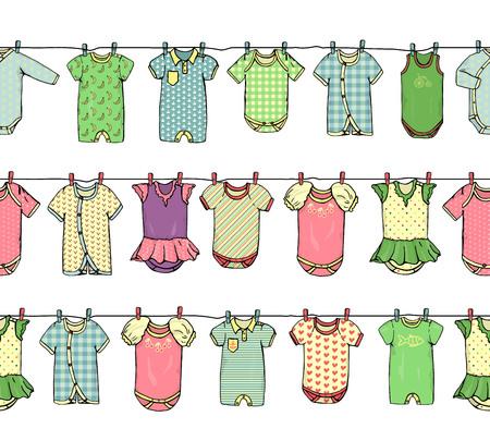 Vector nahtloses Grenzmuster von Babykleidung auf Wäscheleine. Helle Kinderkleidung wiederholen Muster. Vektornahtloser horizontaler Hintergrund passend für Websites
