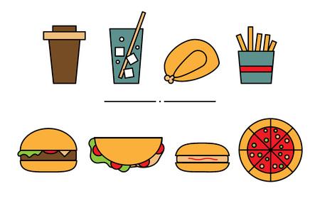 Set of flat geometric fast food icons. Illustration of colored lemonade, roasted chicken, fries, coffee, pizza, hamburger, hot-dog, burrito isolated on white background Archivio Fotografico - 120658637