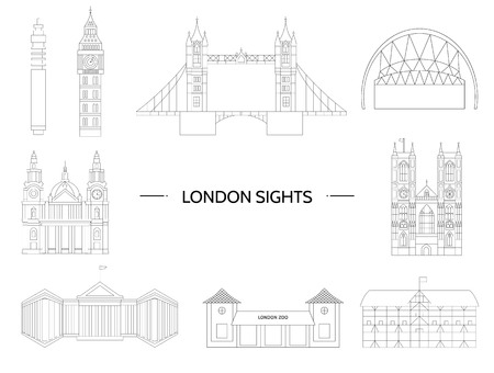 Set of London sights. Vector illustration of England places of interest. Symbols of London city. Vector line drawing. Geometric flat illustration
