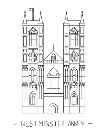 Vector illustration of London sights. London city symbol isolated on white background. Westminster abbey in line art style